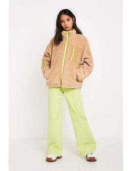 Uo Camel + Fluorescent Zip Through Teddy Jacket by Urban Outfitters