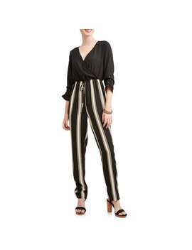 Almost Famous Juniors' Long Sleeve Wrap Jumpsuit by Almost Famous