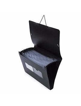 A4 Document File Folder, U Baymax 12 Pockets Folder A4 Wallet Fastener Expanding File Organiser Paper Divider, Concertina File Accordion Folder, Storage Filing Box For Office School Homework (Black) by Ubaymax