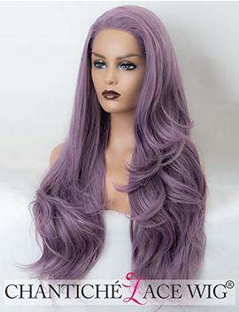 Chantiche Ash Purple Lace Front Wig For Ladies Natural Straight Long Synthetic Wig Uk Heat Resistant Hair Wigs Half And Half Tied 22 Inch by Chantiche Lace Wig