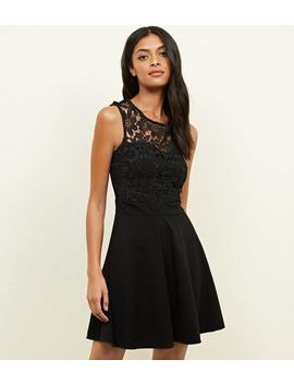 Mela Black Lace Trim Skater Dress by New Look