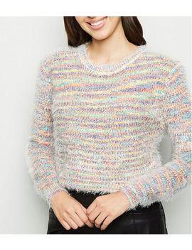 Blue Vanilla Rainbow Stripe Fluffy Jumper by New Look