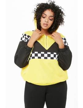 Plus Size Checkered & Mesh Colorblock Anorak by Forever 21
