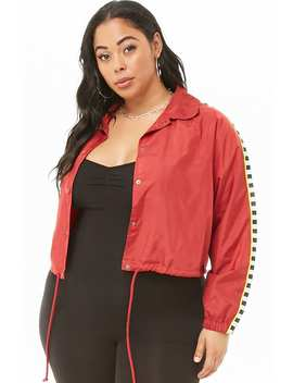 Plus Size Cropped Coach Jacket by Forever 21