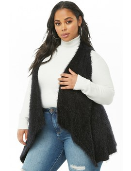 Plus Size Fuzzy Drape Front Vest by Forever 21
