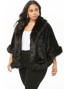 Plus Size Faux Fur Poncho by Forever 21