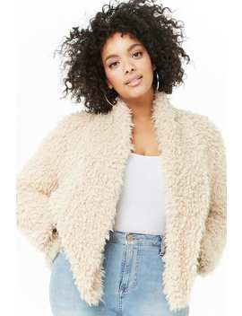 Plus Size Shaggy Faux Fur Open Front Jacket by Forever 21