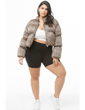Plus Size Leopard Print Puffer Jacket by Forever 21