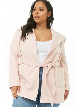 Plus Size Hooded Wrap Coat by Forever 21