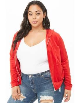 Plus Size Velvet Hooded Jacket by Forever 21