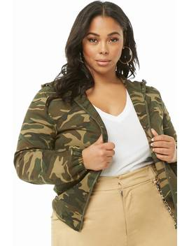 Plus Size Camo Zip Jacket by Forever 21