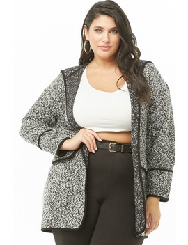 Plus Size Hooded Marled Open Front Jacket by Forever 21