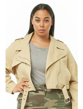 Plus Size Cotton Twill Moto Jacket by Forever 21