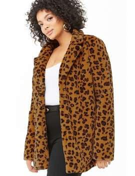 Plus Size Plush Leopard Print Jacket by Forever 21