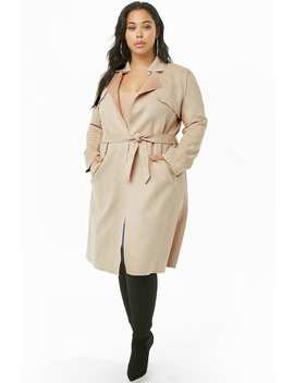 Plus Size Faux Suede Trench Coat by Forever 21