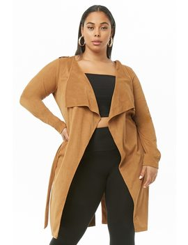 Plus Size Ribbed Drape Front Cardigan by Forever 21
