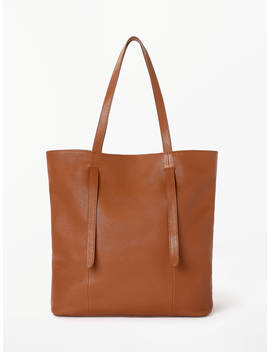 John Lewis & Partners Cecilia Leather North/South Tote Bag, Tan by John Lewis & Partners