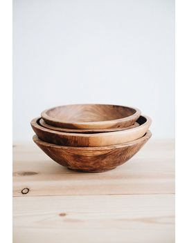 Connected Goods Hand Carved Olive Wood Serving Bowl by Connected Goods