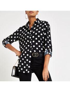 Black Spot Print Long Sleeve Shirt by River Island