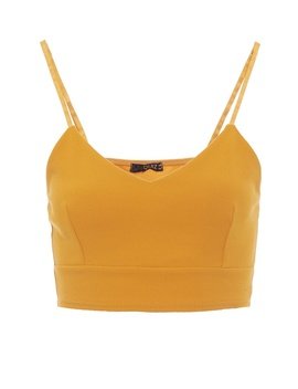 *Quiz Mustard Strap Crop Top by Dorothy Perkins