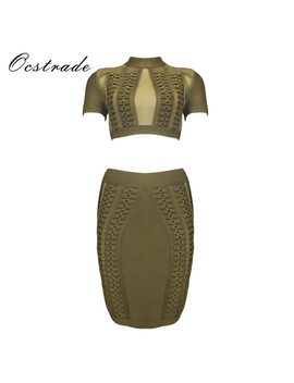 Ocstrade Women Two Piece Set 2017 New Arrival Olive Green Metals Embellished Sexy 2 Piece Bandage Dress With Mesh Insert by Ocstrade