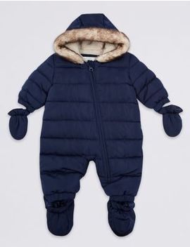 Faux Fur Trim Puffer Snowsuit by Marks & Spencer