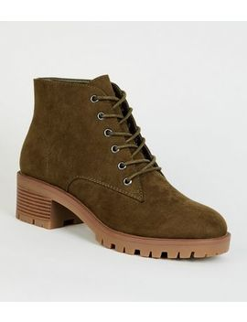 Khaki Suedette Chunky Sole Lace Up Boots by New Look