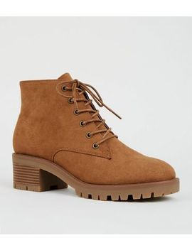 Tan Suedette Chunky Sole Lace Up Boots by New Look