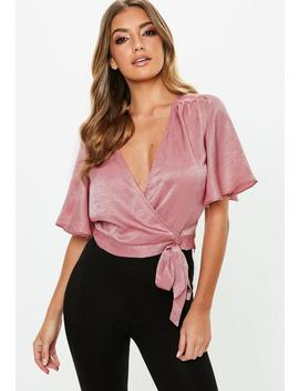 Rose Flutter Sleeve Tie Detail Cropped Top by Missguided