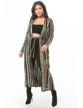 Plus Size Striped Leopard Print Duster Cardigan by Forever 21