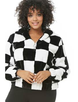 Plus Size Checkered Faux Fur Anorak by Forever 21