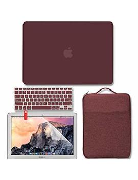 Mac Book Air 13 Inch Case Bundle Older Version Compatible A1369 / A1466 2008 2017 Release No Touch Id, Gmyle Hard Matte Shell, Carrying Sleeve, Keyboard Cover & Screen Protector   Burgundy Red by Gmyle