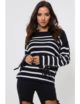 Navy/Ecru Stripe Eyelet Lace Up Sleeve Jumper by I Saw It First