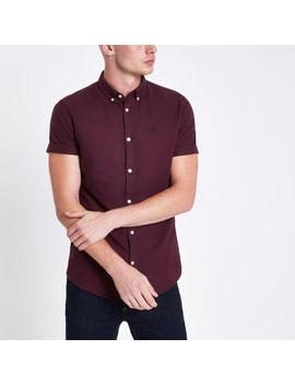 Burgundy Short Sleeve Oxford Shirt by River Island