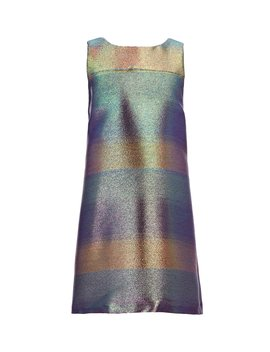 Social Big Girls 7 16 Sleeveless Holographic Metallic Shimmer Shift Dress by Gb Girls