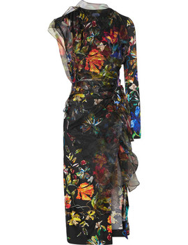 Layered Floral Print Satin And Organza Midi Dress by Mugler