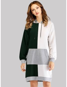 Cut And Sew Drawstring Hooded Dress by Sheinside