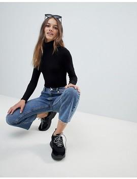 Asos Design – Petite – Svart Body Med Lång ärm Och Halvpolokrage by Asos