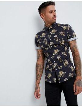 Asos Design Stretch Slim Floral Shirt In Black by Asos Design