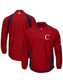 Cuba Baseball Majestic 2017 World Baseball Classic Convertible Gamer Quarter Zip Jacket   Red/Navy by Majestic