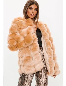 Sand Bubble Faux Fur Coat by Missguided