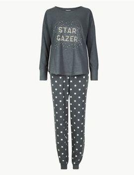 Cotton Rich Star Print Pyjama Set by Marks & Spencer