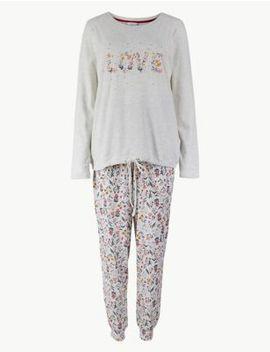 Cotton Rich Printed Pyjama Set by Marks & Spencer