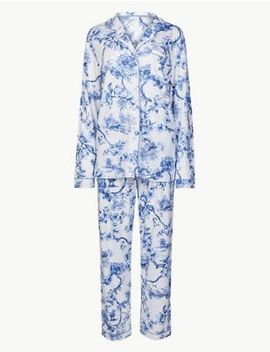 Cotton Blend Printed Long Sleeve Pyjama Set by Marks & Spencer