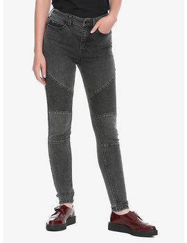 Blackheart Washed Black Moto Jeans by Hot Topic