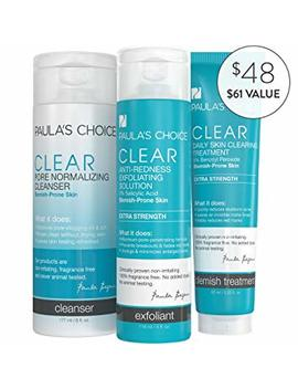 Paula's Choice Clear Extra Strength Acne Kit 2 Percents Salicylic Acid & 5 Percents Benzoyl Peroxide Acne Treatment Skincare Kit With Face Wash, Blemish Treatment, And Exfoliator by Paula's Choice
