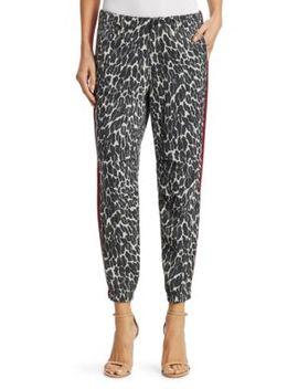 No Zip Misfit Leopard Side Stripe Joggers by Mother