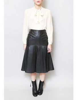 Vintage 1980's Soft Black Flared Leather Midi Skirt by Peekaboo Vintage