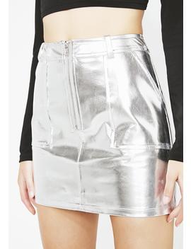 Platinum Material Gurl Metallic Skirt by Blue Blush