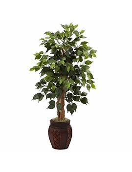 Nearly Natural 5929 44 Inch Ficus Tree With Decorative Planter, Green by Nearly Natural